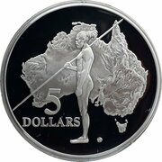 5 Dollars - Elizabeth II (3rd Portrait - Aboriginal Exploration - Masterpieces in Silver) -  reverse