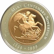100 Dollars - Elizabeth II (4th Portrait - The Sovereign - Bimetalic Bullion Coin) -  reverse