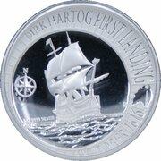 1 Dollar - Elizabeth II (4th Portrait - Dirk Hartog Landing - Silver Proof High Relief) -  reverse