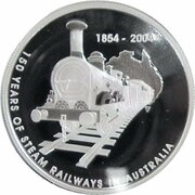 5 Dollars - Elizabeth II (4th Portrait - Steam Railways - Silver Proof) -  reverse