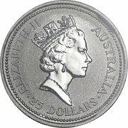 25 Dollars - Elizabeth II (3rd Portrait - Koala - Platinum) -  obverse