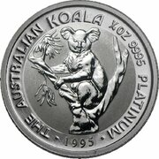 25 Dollars - Elizabeth II (3rd Portrait - Koala - Platinum) -  reverse