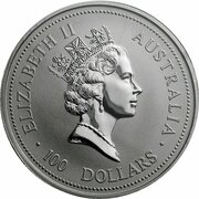 100 Dollars - Elizabeth II (3rd Portrait - Koala - Platinum) -  obverse