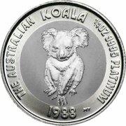 25 Dollars - Elizabeth II (3rd Portrait - Koala - Platinum) – reverse