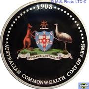 1 Dollar - Elizabeth II (4th Portrait - Coat of Arms 1908-2008 - Colourised) -  reverse