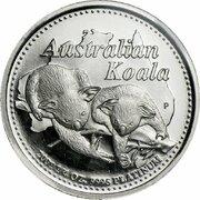 25 Dollars - Elizabeth II (4th Portrait - Koala - Platinum) -  reverse