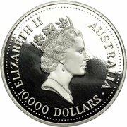 10,000 Dollars - Elizabeth II (3rd Portrait - Koala - Platinum) -  obverse