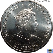 20 Cents - Elizabeth II (6th Portrait - AC/DC - High Voltage) -  obverse