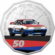 50 Cents - Elizabeth II (6th Portrait - 60 Years Supercars - Nissan R32 Skyline GT-R) -  reverse