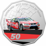 50 Cents - Elizabeth II (6th Portrait - 60 Years Supercars - Ford BF Falcon) -  reverse