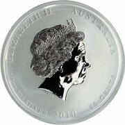 50 Cents - Elizabeth II (4th Portrait - Year of the Tiger - Silver Bullion Coin - Colourised) -  obverse