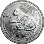 8 Dollars - Elizabeth II (4th Portrait - Year of the Tiger - Silver Bullion Coin) -  reverse