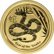 25 Dollars - Elizabeth II (4th Portrait - Year of the Snake - Gold Bullion Coin) -  reverse