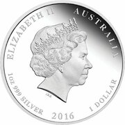 1 Dollar - Elizabeth II (4th Portrait - Year of the Monkey - Silver Bullion Coin) -  obverse