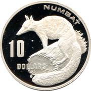 10 Dollars - Elizabeth II (3rd Portrait - Numbat - Frosted Proof) -  reverse