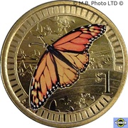 1 Dollar - Elizabeth II (4th Portrait - Young Collectors - Marathon Butterfly) -  reverse
