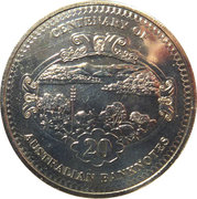 20 Cents - Elizabeth II (4th Portrait - Centenary of Australian Banknotes - 5 Pounds) -  reverse