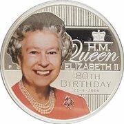 1 Dollar - Elizabeth II (4th Portrait - Queen Elizabeth II 80th Birthday) -  reverse