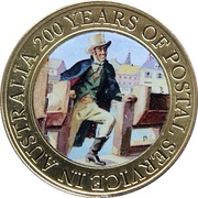 1 Dollar - Elizabeth II (200 Years of Postal Services in Australia) -  reverse