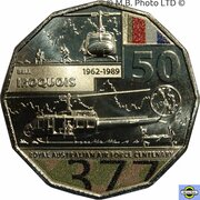 50 Cents - Elizabeth II (6th Portrait - 100 Years RAAF - Bell Iroquois Helicopter) -  reverse