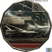 50 Cents - Elizabeth II (6th Portrait - 100 Years RAAF - General Dynamics F-111) -  reverse