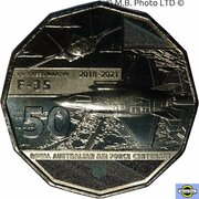 50 Cents - Elizabeth II (6th Portrait - 100 Years RAAF - Lockheed Martin F-35 Joint Strike Fighter) -  reverse