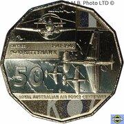 50 Cents - Elizabeth II (6th Portrait - 100 Years RAAF - P-40 Kittyhawk) -  reverse