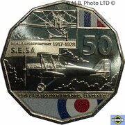 50 Cents - Elizabeth II (6th Portrait - 100 Years RAAF - Royal Aircraft Factory S.E.5A) -  reverse