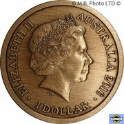 1 Dollar - Elizabeth II (4th Portrait - Convict Token - Gaol Bird) -  obverse