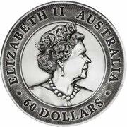 60 Dollars - Elizabeth II (6th Portrait - Great Barrier Reef - Silver Antiqued) – obverse