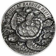 60 Dollars - Elizabeth II (6th Portrait - Great Barrier Reef - Silver Antiqued) – reverse