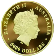 5000 Dollars - Elizabeth II (The Australian Trilogy - Kookaburra) -  obverse
