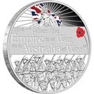 1 Dollar - Elizabeth II (ANZAC Spirit 100th Anniversary Coin Series – Declaration of War) – reverse