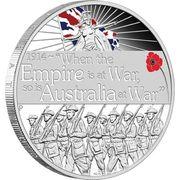 1 Dollar - Elizabeth II (ANZAC Spirit 100th Anniversary Coin Series – Declaration of War) -  reverse