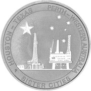 50 Cents - Elizabeth II (Houston-Perth Sister Cities) – reverse