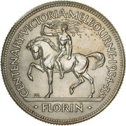 1 Florin - George V (Victoria and Melbourne Centenary) -  reverse