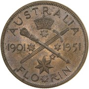 1 Florin - George VI (50 Years of Federation) -  reverse