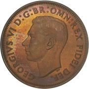 "½ Penny - George VI (without ""IND:IMP"") -  obverse"