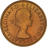 "½ Penny - Elizabeth II (1st portrait; with ""F:D:"") -  obverse"