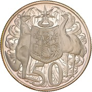 50 Cents - Elizabeth II (2nd portrait; Round type) – reverse