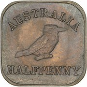 ½ Penny - George V (Kookaburra Pattern - Type 2) – reverse