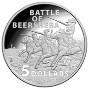 5 Dollars - Elizabeth II (4th Portrait - Century of the Battle of Beersheba - Silver Proof) -  reverse