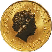 50 Dollars - Elizabeth II (4th Portrait - Kangaroo - Gold Bullion Coin) -  obverse