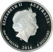 8 Dollars - Elizabeth II (4th Portrait - Year of the Horse - Silver Bullion Coin) -  obverse