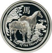8 Dollars - Elizabeth II (4th Portrait - Year of the Horse - Silver Bullion Coin) -  reverse