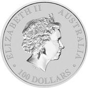 100 Dollars - Elizabeth II (4th Portrait - Australian Kangaroo - Platinum Bullion Coin) -  obverse