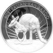 "1 Dollar - Elizabeth II (""Kangaroo"" High Relief Silver Bullion Coinage) -  reverse"