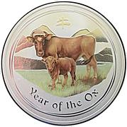 1 Dollar - Elizabeth II (4th Portrait - Year of the Ox - Silver Colourised) -  reverse