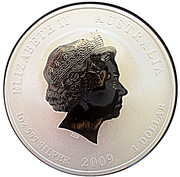 1 Dollar - Elizabeth II (4th Portrait - Year of the Ox - Silver Gilded) -  obverse