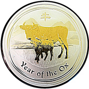 1 Dollar - Elizabeth II (4th Portrait - Year of the Ox - Silver Gilded) -  reverse